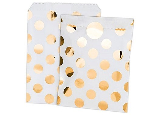 Gold Foil Polka Dot Paper Treat Bags With Stickers Set Of 8