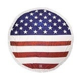 Weddingstar Personalizable American Flag Round Beach Towel