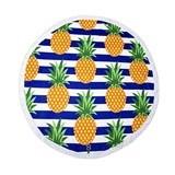 Weddingstar Personalizable Pineapple And Stripes Round Beach Towel