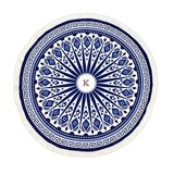 Weddingstar Personalizable Blue & White Tribal Print Round Beach Towel