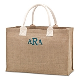 Weddingstar Large Personalizable Reusable Burlap Fabric Beach Tote Bag