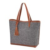 Weddingstar Shoulder Bag Tote/Purse - Grey Knit