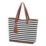 Weddingstar Shoulder Bag Tote/Purse - Navy and White Stripe Knit