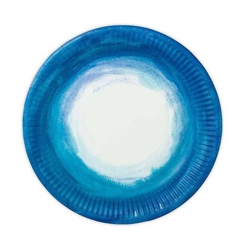 Weddingstar Aqueous Motif Coastal Blue Round Paper Plates (Set of 12)