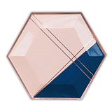 Weddingstar Large Rose Gold & Navy Hexagon Party Plates (Set of 8)