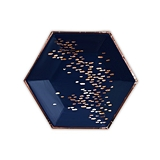 Weddingstar Small Rose Gold & Navy Hexagon Party Plates (Set of 8)
