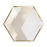 Weddingstar Large White w/ Gold Hexagon Party Paper Plates (Set of 8)