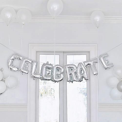 Weddingstar Silver Foil Balloon Decoration - Celebrate