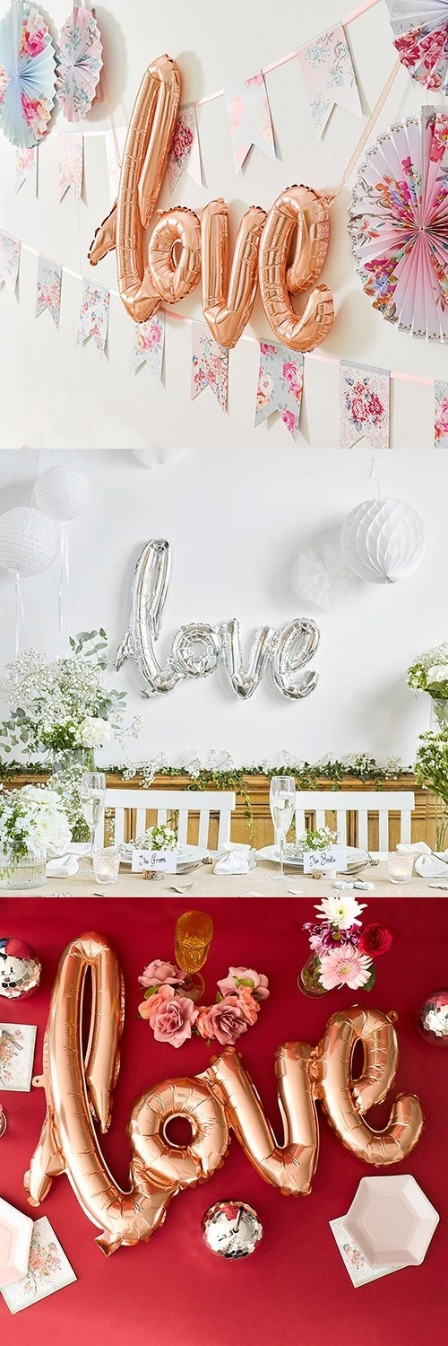 Weddingstar Cursive Love Foil Balloon Decoration (Rose Gold or Silver)