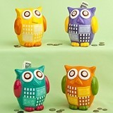 FashionCraft Multicolored Ceramic Wide-Eyed Owl Banks (Set of 4)