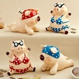 FashionCraft Multicolored Ceramic Little Piggy Banks (Set of 4)
