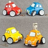 FashionCraft Multicolored Ceramic Car Banks (Set of 4 Assorted)