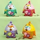 FashionCraft Multicolored Ceramic Baby Chick Banks (Set of 4 Assorted)
