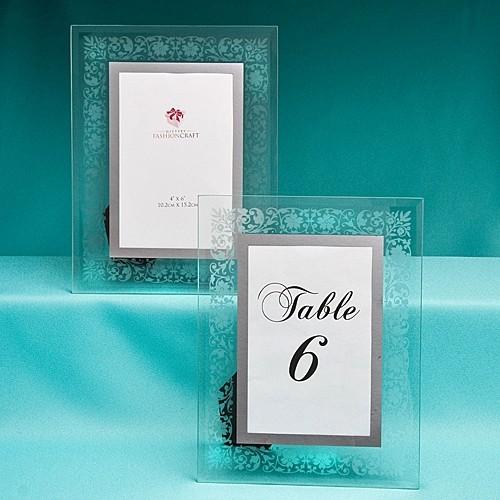 FashionCraft Etched Floral Design Frame/Table Number Holder