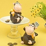 FashionCraft Ceramic Smiling Monkey Design Banks (Set of 4 Assorted)