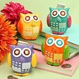 FashionCraft Multicolored Ceramic Miniature Owl Banks (Set of 4)