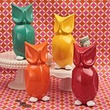 FashionCraft Multicolored Ceramic Wise Old Owl Banks (Set of 4)