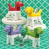 FashionCraft Multicolored Ceramic Stylized Dog Design Banks (Set of 4)