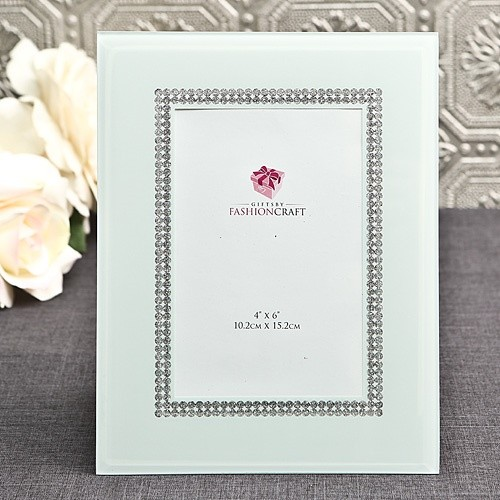 FashionCraft Chic White Beveled-Glass Frame with Silver Inner Border