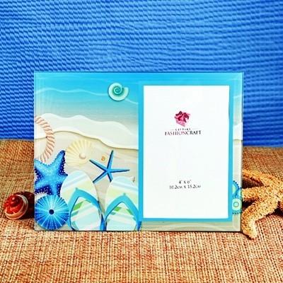 FashionCraft Blue Flip-Flops & Starfish Motif Beach-Themed Glass Frame