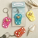FashionCraft Fun Colorful Flip-Flop-Shaped Key Chains (Set of 12)