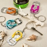 FashionCraft Flip-Flop-Shaped Bottle Openers w/ Key Chains (Set of 12)