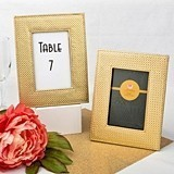 Wide Border Gold Metallic Frame with Leatherette Diamond Finish