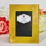 Gold Glitter Wide-Bordered Beveled-Glass Frame/Table Number Holder
