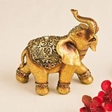 Small Golden Good Luck Decorative Elephant Figurine