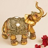 Large Golden Good Luck Decorative Elephant Figurine