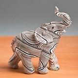 Miniature Geometric Spiral Swirl Design Standing Elephant Figurine