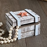 FashionCraft Distressed Wooden Jewelry Box with Starfish Accent
