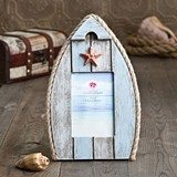Glorious Boat-Shaped Wood Frame w/ Starfish and Nautical Rope Accents