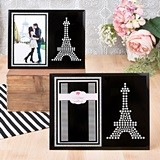 Silver Glitter Modern Style Eiffel Tower on Black Glass Picture Frame