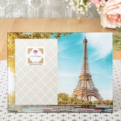 Photo-Effect Image of the Eiffel Tower on a Clear Day Glass Frame