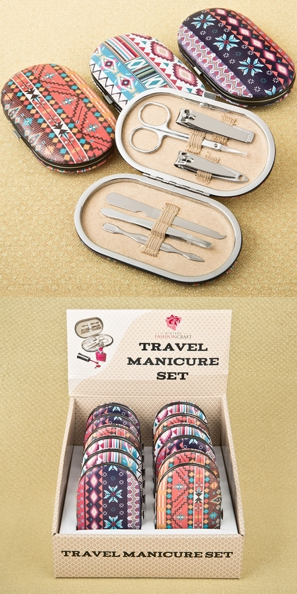 FashionCraft Trendy Aztec Design Travel Manicure Sets (Set of 12)