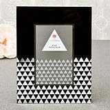 Black Geometric Glass with Mirror Triangles Frame/Table Number Holder