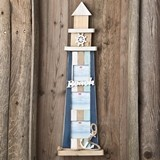 FashionCraft Wooden Lighthouse Decoration with Three Picture Frames