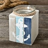 FashionCraft Charming Anchor-Motif Wood Candle Holder with Tealight