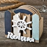 FashionCraft Wood Coasters and Holder w/ Ship's Wheel Motif (Set of 4)