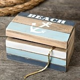 FashionCraft Beach-Themed Anchor-Motif Distressed-Wood Trinket Box