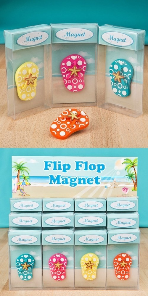 FashionCraft Fun Colorful Rubber Flip-Flop-Shaped Magnets (Set of 12)