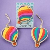 FashionCraft Colorful Hot Air Balloon Luggage Tags (Set of 24)