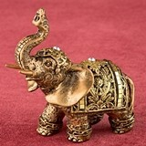 Miniature Gold Elephant with Gold Mirror Design and Clear Rhinestones