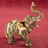 Small Gold Elephant with Gold Mirror Design and Clear Rhinestones