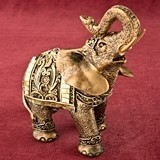 Medium-Sized Gold Elephant w/ Gold Mirror Design and Clear Rhinestones