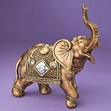 Large Gold Elephant with Shiny Mirror Design and Clear Rhinestones