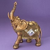 Jumbo Gold Elephant with Shiny Mirror Design and Clear Rhinestones