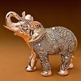 Magnificent Champagne Gold Antique Standing Elephant with Clear Stones