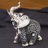 FashionCraft Small Boho Charcoal Silver & Marble Elephant Figurine